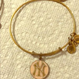 Alex and ani gold NYY pink bracelet